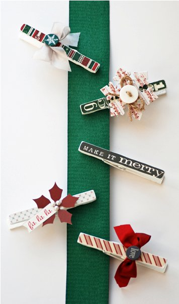 Clothespins on ribbon